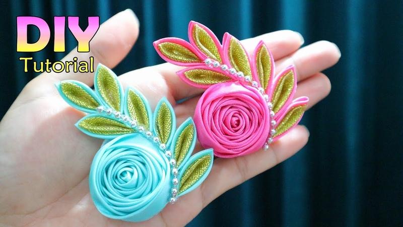 DIY | Kanzashi Flower Tutorial | Satin Ribbon Flower | Cara Membuat Bros Handmade |