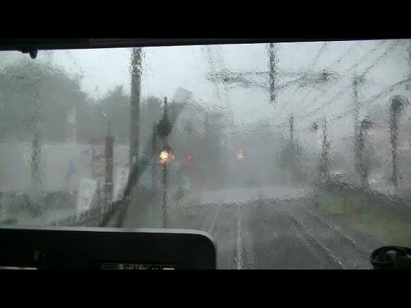 【おびえる女子小学生】雷雨の中を走行する西武30000系