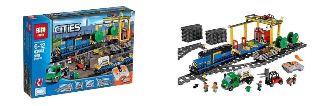 Конструктор LEPIN 02008 - аналог конструктора LEGO Грузовой поезд 60052