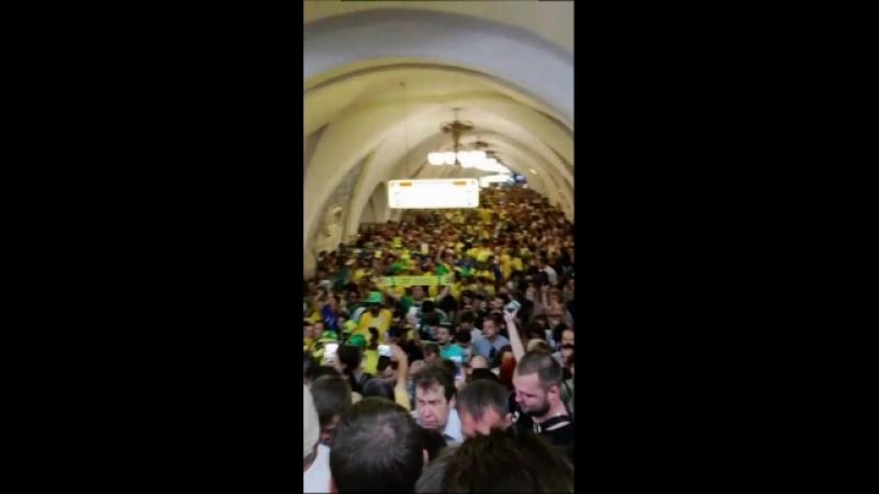Бразильцы в Москоском метро 26 июня 2018 2