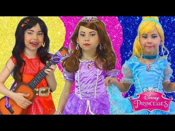 Disney Princess Dresses Kids Makeup Sofia the First, Cinderella, Elena Pretend Play with Dolls