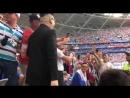 На матч Россия-Уругвай поболеть за Россию приехал Ким Чен Ын. Без охраны и в очень хорошем настроении.