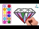 Diamonds Drawing and Coloring with Glitters, Finger Family Songs Glitters Diamonds coloring pages
