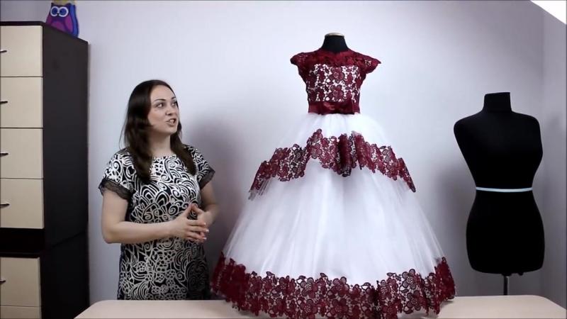 Детское Платье с пышной фатиновой Юбкой и Кружевным лифом с открытой спинкой ч3