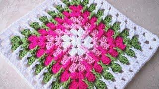 Basit Mosaic Kare Battaniye Yapımı Crochet Trebling Granny Square