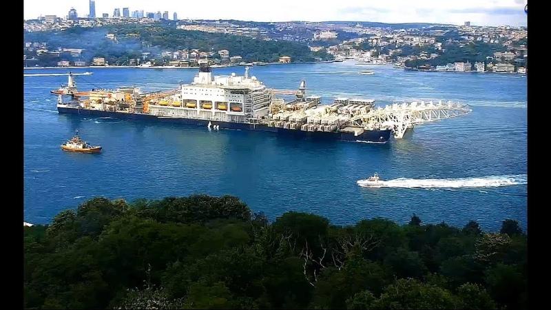 Самое большое в мире судно Pioneering spirit проходит Босфором вновь в Чёрное море для укладки второй нитки Турецкого потока :) 212.06.2018