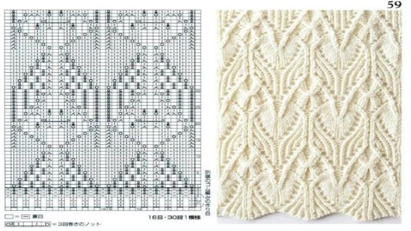 Шикарные схемы узоров для спиц. С 51 по 60. Книга 260 узоров Хитоми Шида