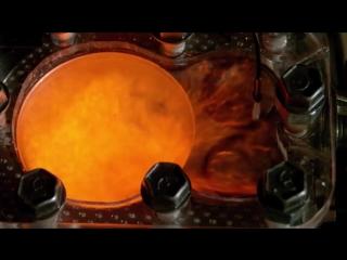 Замедленная в 150 раз съемка работы двигателя внутреннего сгорания
