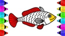 How to Draw Fish coloring pages for Kindergarten | Fish Drawing and Coloring Tutorial