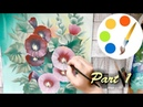 How to paint Malva by a flat brush how to paint flowers part 1