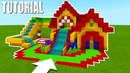 Minecraft Tutorial: How To Make A Fun House Mansion Bouncy House with a Water Slide