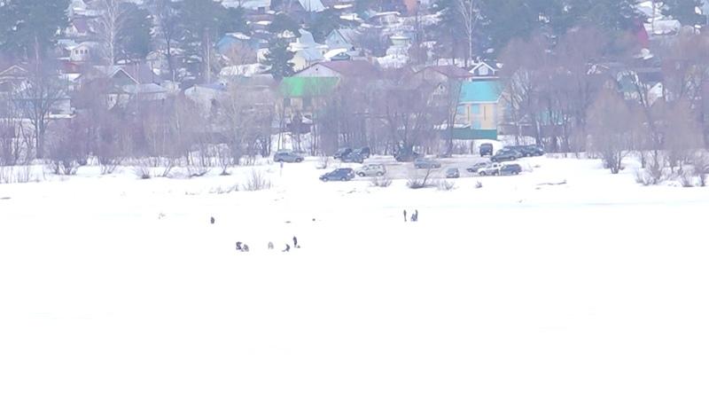 Рыбалка зимняя в районе Чебоксарской ГЭС-16 03 2019