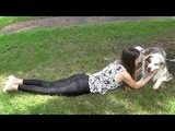 Young girl in black spandex leggings, top and white High Heels Part 1