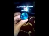 Золотистая анальная пробочка с голубым кристаллом