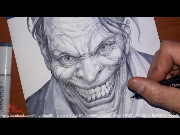 【DC comics】 JOKER headshot Ink work by.InHyuk Lee ( 배트맨 조커얼굴 잉크작업 by.이인혁)