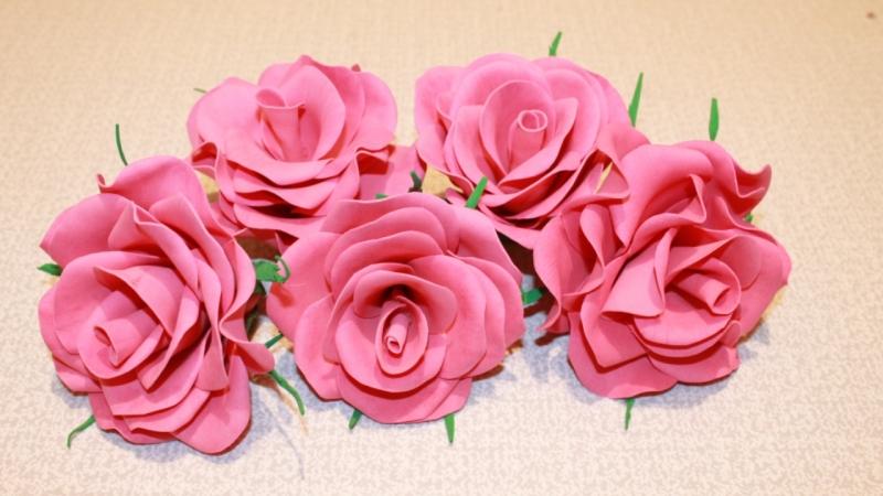 Розы из фоамирана пошаговое видеоурок