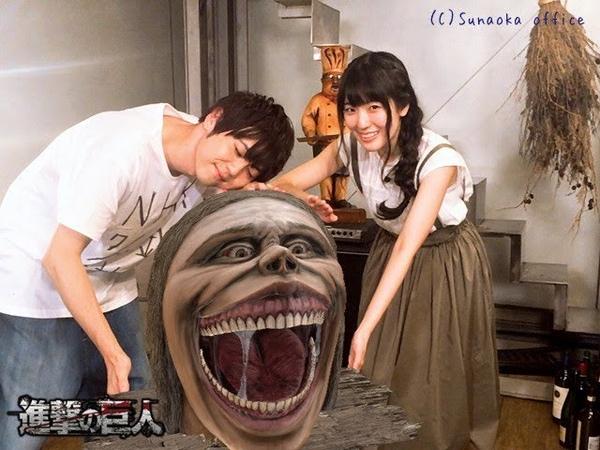 [EN] Voice Actors of Eren and Mikasa taking photos with the Smiling Titan - SNOW x AOT Collab