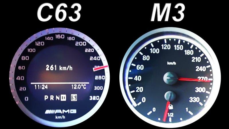 Mercedes C63 AMG vs BMW M3 E92 Acceleration 0-260 km/h Onboard V8 Sound Kickdown Autobahn