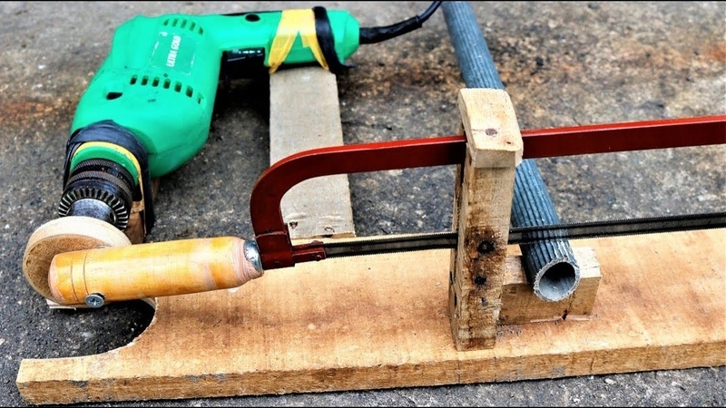 How to make a simple drill powered hacksaw at home,diy
