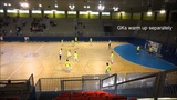 Warm up for futsal match in high level competition. Indoor football, 5-a-side warm up.