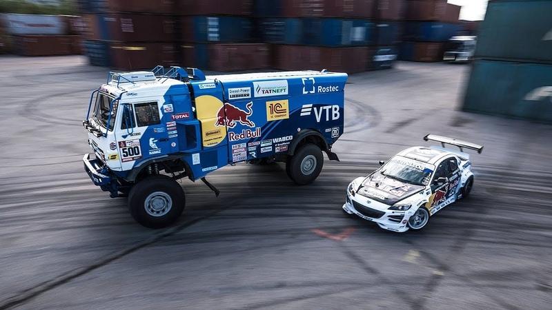 Nine-ton truck takes on drifting race in Saint Petersburg | Kamaz Dakar Truck Drift vs Mazda RX-8