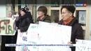 Новости на Россия 24 Девушек облили красной краской на акции в Ужгороде
