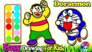 Draw Doraemon Nobita's Father Coloring | Learn Colors, Painting For Toddlers, Drawing For Kids