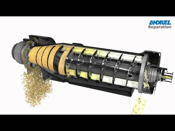 ANDRITZ SEPARATION 3D animation of 2 phase decanter centrifuge with CIP