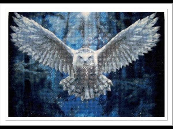 Алмазная вышивка «Сова». Алмазы квадратные. Diamond embroidery Owl.