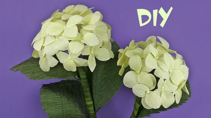 How to make Hydrangea flowers from crepe paper | Crepe paper flower Tutorials