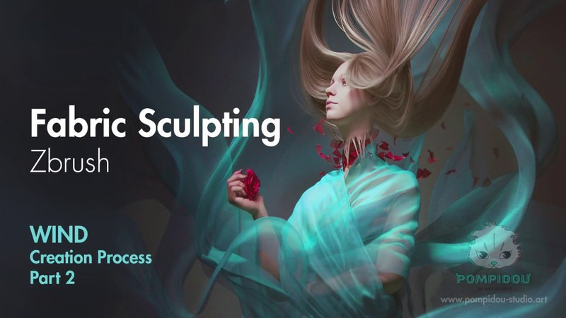Fabric sculpting in Zbrush. Work process on Wind. Part 2.