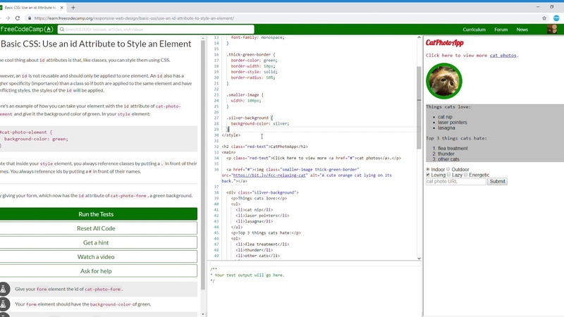 15/44 Basic CSS Use an id Attribute to Style an Element Learn freeCodeCamp