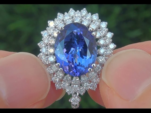GIA Certified VVS1 Natural D-Block Tanzanite Diamond 18k White Gold Pendant Necklace - C608