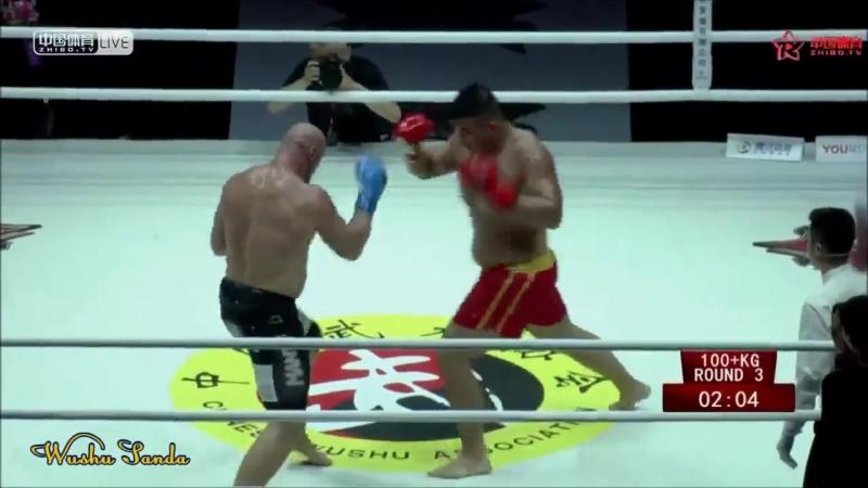 Ушу Саньда св 100 кг Иэ Сян против Чемпиона Мира по Кикбоксингу Глухова К Латвия sanda42
