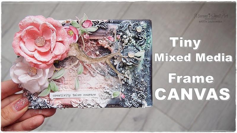 Mixed Media Frame Tiny Canvas Tutorial ♡ Maremi's Small Art ♡