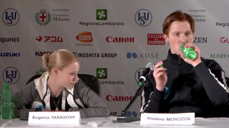 Pairs SP Press Conference -Worlds Milan 2018