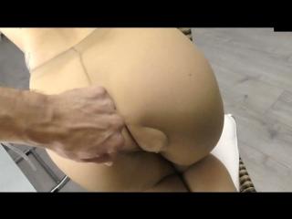 Sex in tan pantyhose at home