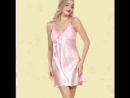 Thin Straps Pleated Chest Lace Detail Satin Nightdress