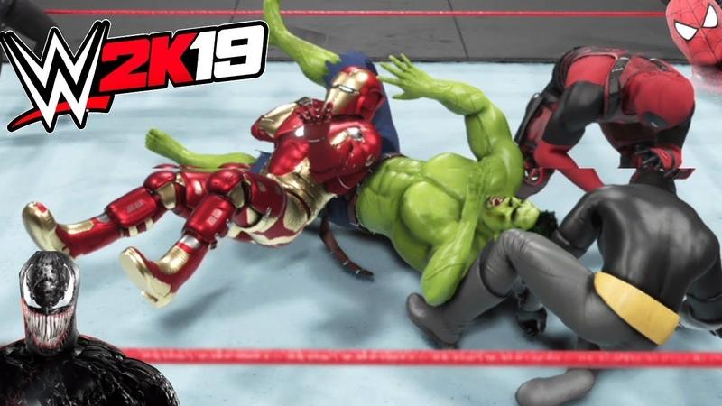 WWE 2K19 - HULK VS BATMAN VS SPIDERMAN VS VENOM VS DEADPOOL VS IRONMAN - ELIMINATION CHAMBER MATCH