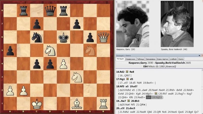 Шахматы Каспаров Спасский битва Чемпионов Мира в староиндийской защите