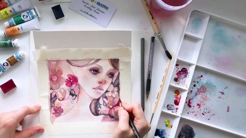 Speed painting из видео урока Нимфа в цветах от Оксаны Викторовой