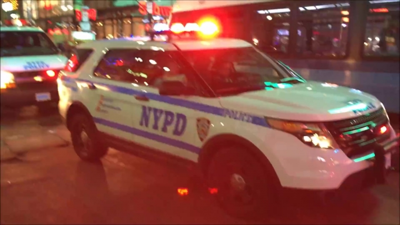 NYC Department Of Corrections Prisoner Transportation Bus Responding With NYPD Police Units During T