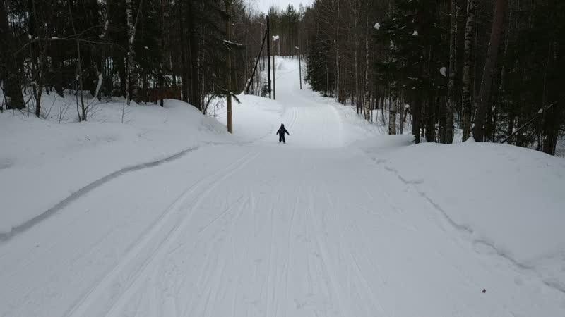 Илас лыжная база спуск с горки