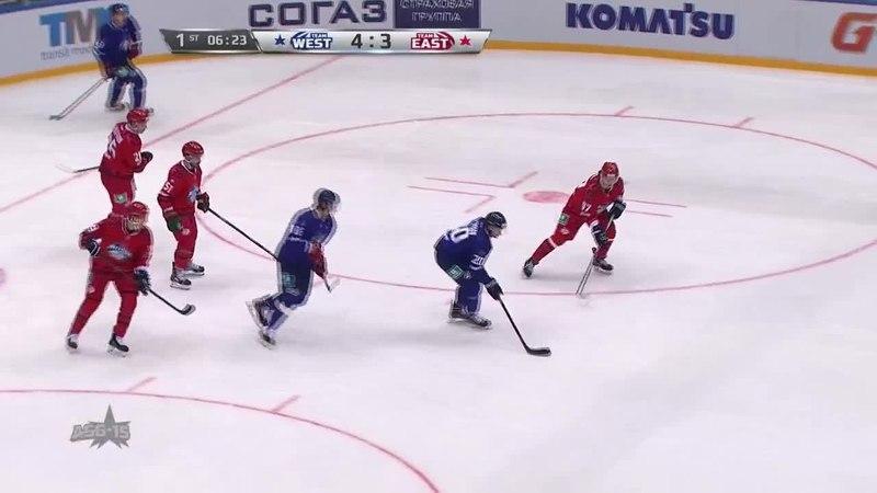 Моменты из матчей КХЛ сезона 14/15 • Гол. 5:3. Никита Щитов (Запад) со второй попытки сумел переправить шайбу за ленточку 25.01