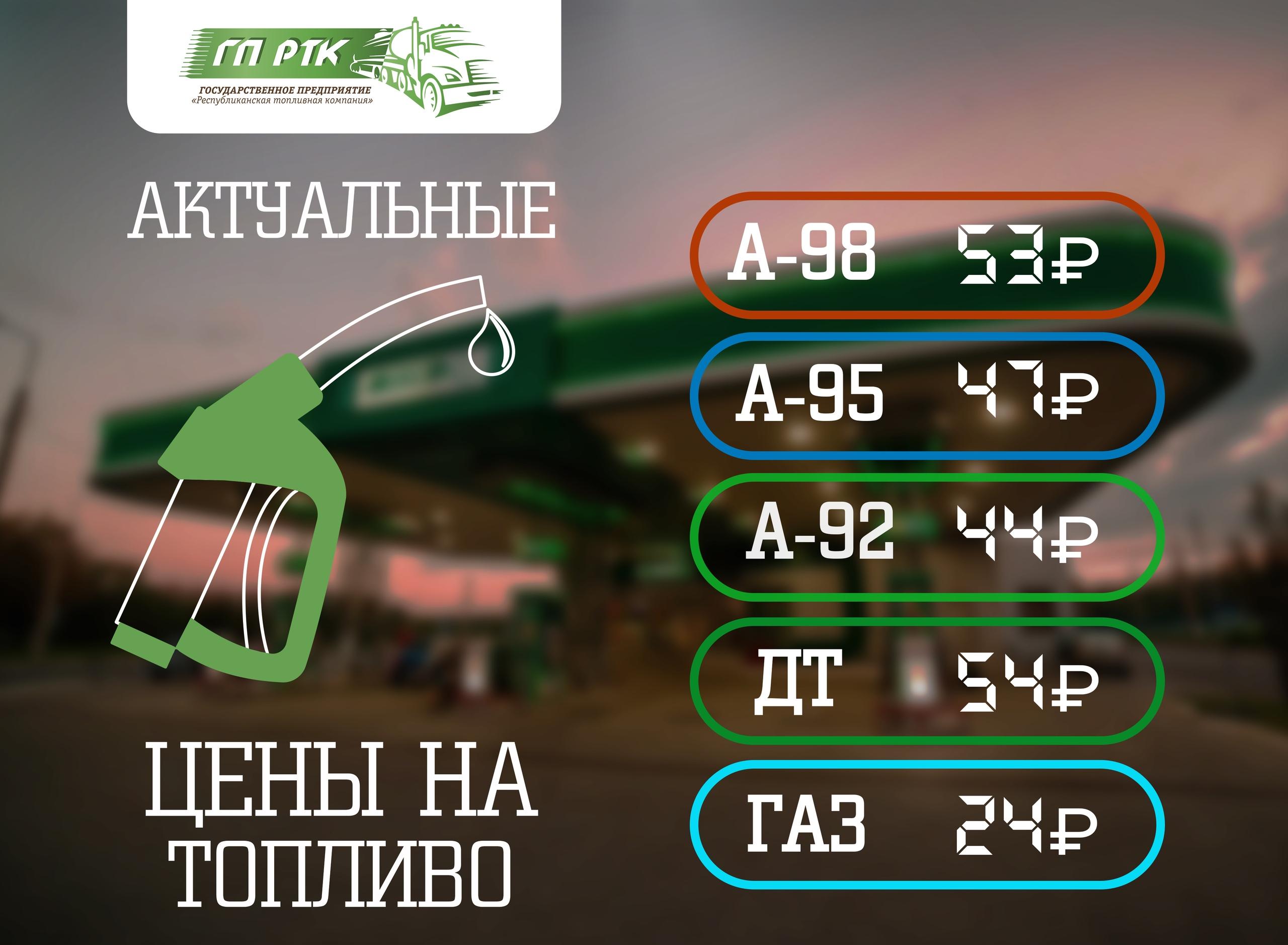 На заправках ГП «РТК» изменилась цена на топливо
