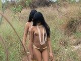 Kalapalo tribe - Xingu river - Brazil - Painting on naked body - Mato Grosso indigenous