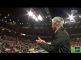 Mourinho picks up a United shirt and scarf, puts it under his arm and applauds the Stretford End. Will back the manager until th