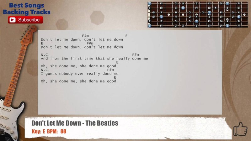 Don't Let Me Down - The Beatles Guitar Backing Track with chords and lyrics