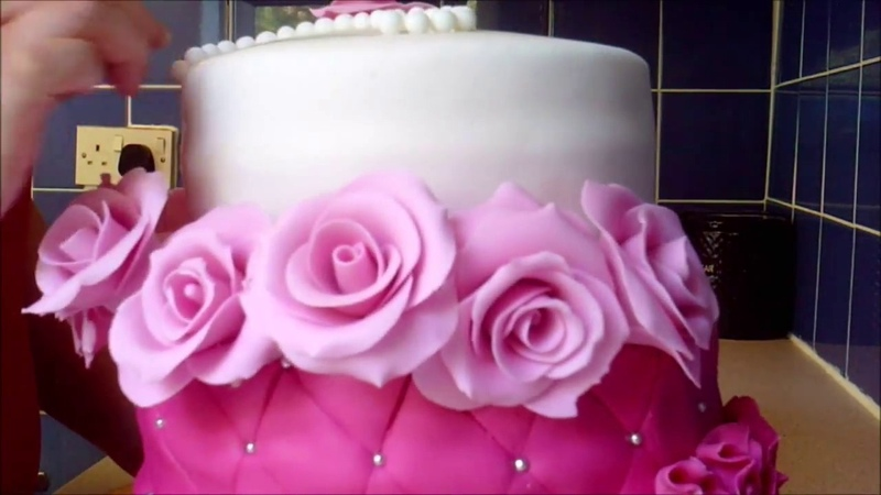 How to make a FONDANT ROSE RUFFLES, Quilted cake tutorial