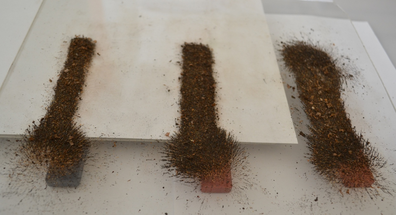 Опилки над магнитами наполовину экранированными , показывают не стандартную картину.